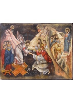 Рисувана икона - Исус Христос - библейска сцена - композиция
