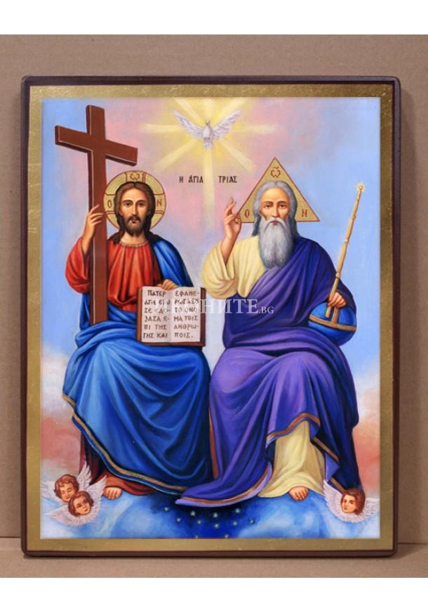 Рисувана икона със злато Света Троица