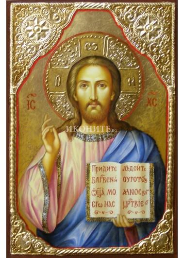 Икона на Исус Христос - Благославящ - декупаж