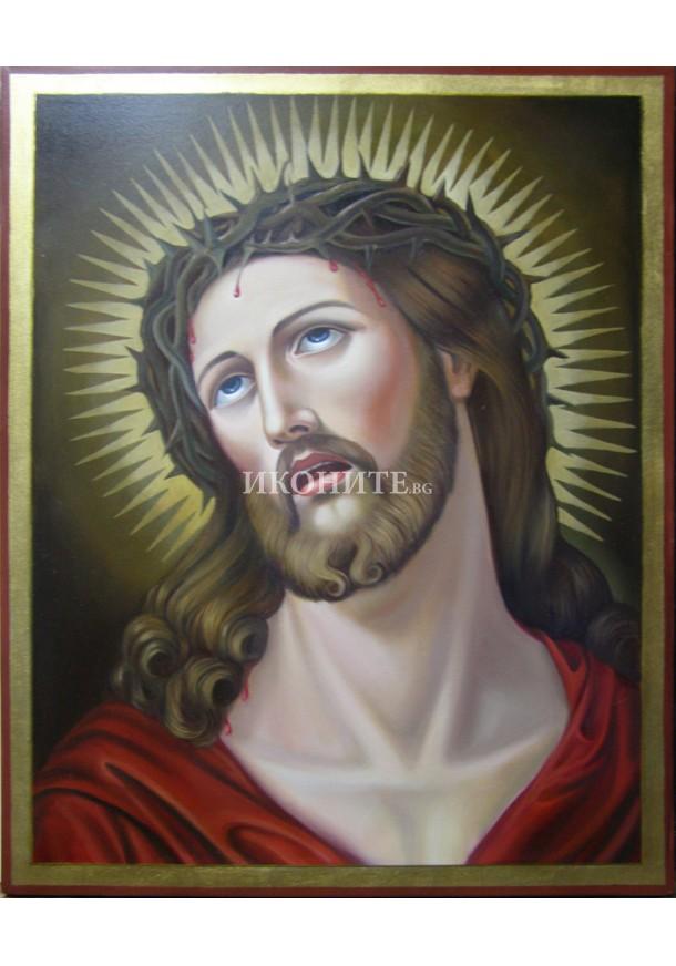 Икона на Исус Христос с трънен венец - декупаж