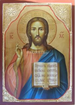 Икона на Исус Христос - Вседържител  - Пантократор - декупаж със златен обков