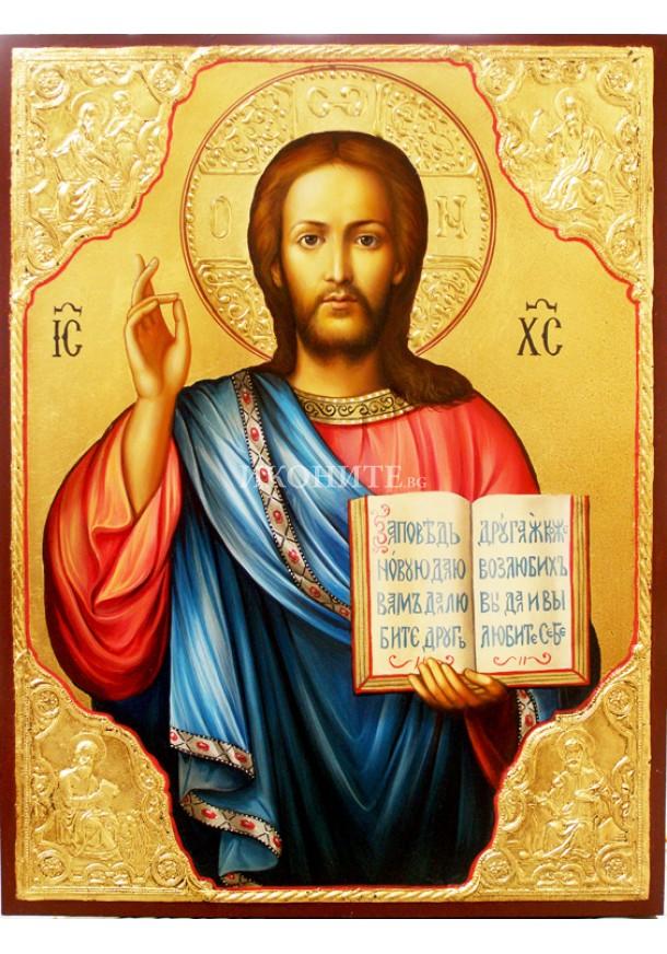 Рисувана икона на Исус Христос - Вседържител  - Пантократор - златен обков