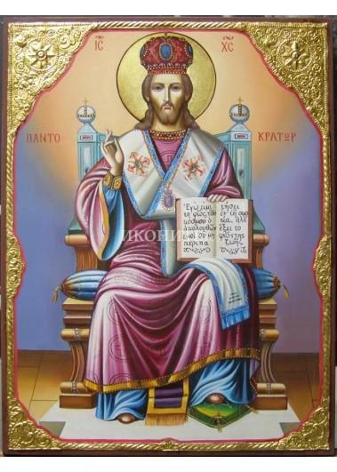Икона на Исус Христос Велик Архиерей - декупаж