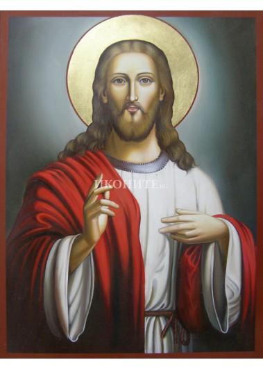 Икона на Исус Христос - Вседържител  - Пантократор - Благославящ - декупаж