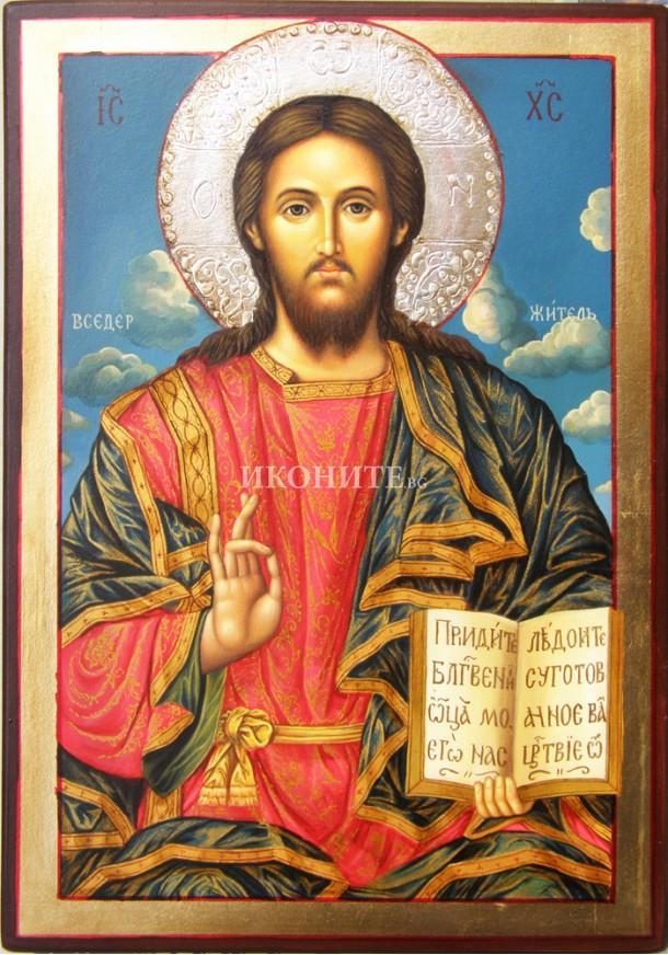 Икона на Исус Христос - Рилски манастир - Вседържител - Пантократор - декупаж
