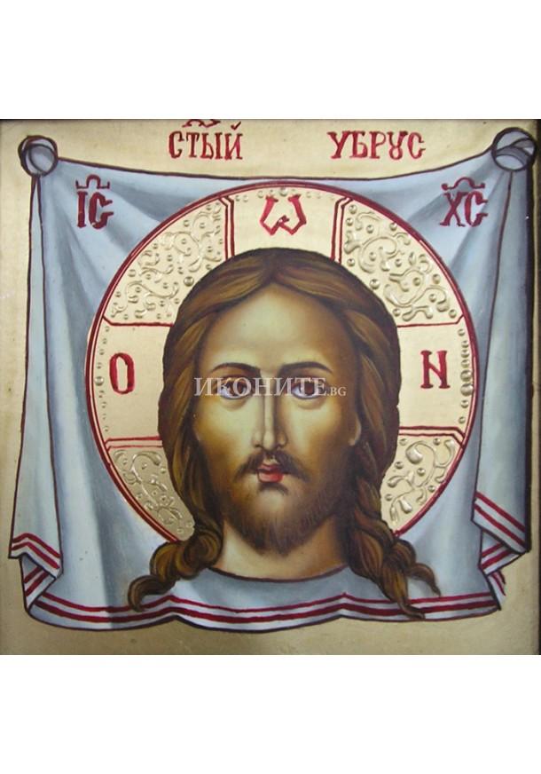 Ръчно рисувана икона със злато на Христос - Св. Спас - Неръкотворен образ - Св. Убрус