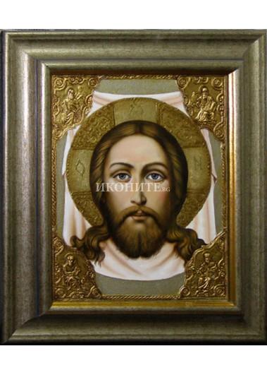 Рисувана икона на Исус Христос - Св. Спас - Неръкотворен образ - Св. Убрус
