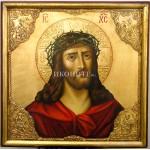 Икона на Исус Христос с трънен венец - декупаж със златен ореол