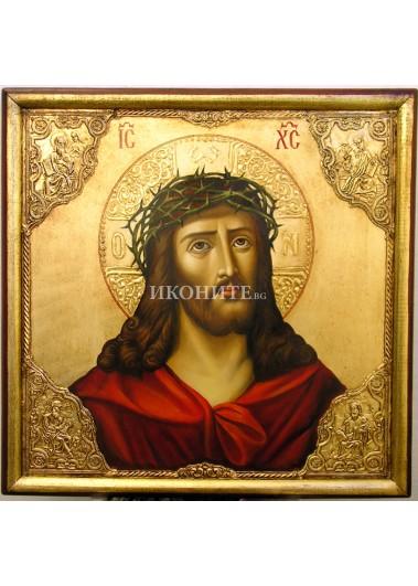 Икона на Исус Христос с трънен венец - златен ореол - репродукция