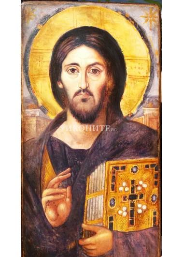 Рисувана икона на Исус Христос - Вседержител - Пантократор - Синай - Двуликия