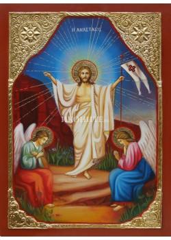 Рисувана икона Възкресение Христово със златен обков