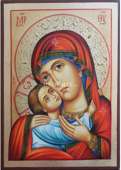 Чудотворна икона на Св. Богородица с Младенеца - Рилска - ръчно изработка на икона с декупаж - Рилски манастир