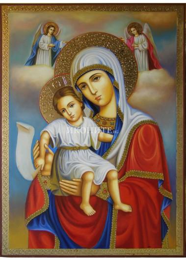 Чудотворната икона на Пресвета Богородица - Достойно Ест - икона с декупаж
