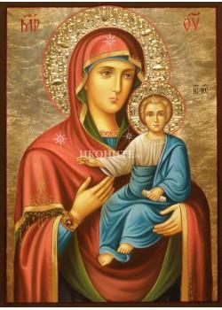 Рисувана икона на Св. Богородица с Младенеца - Пътеводителка - Одигитрия - ръчна изработка