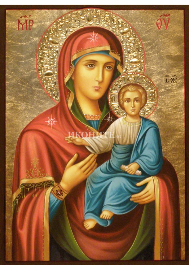 Ръчно рисувана икона на Богородица с Младенеца - Одигитрия - златен фон