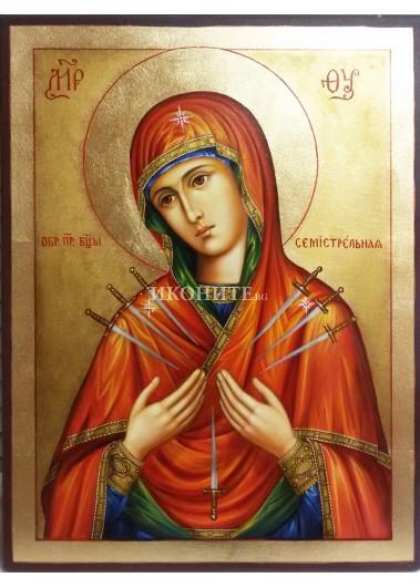 Чудотворната икона на Света Богородица Седмострелна - ръчно рисувана икона