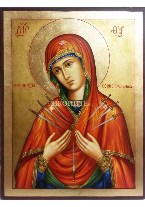 Малка икона от дърво - Богородица Седмострелна