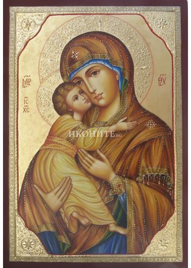 Чудотворна икона на Света Богородица - Умиление - Владимирска - рисувана ръчно