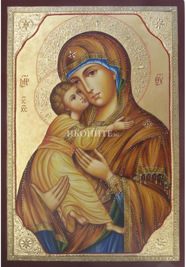 Ръчно рисувана икона със злато на Богородица - Владимирска