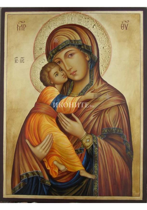 Чудотворна икона на Св. Богородица - Владимирска - Умиление - икона с декупаж