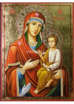 Златна ръчно рисувана икона на Св. Богородица Троеручица