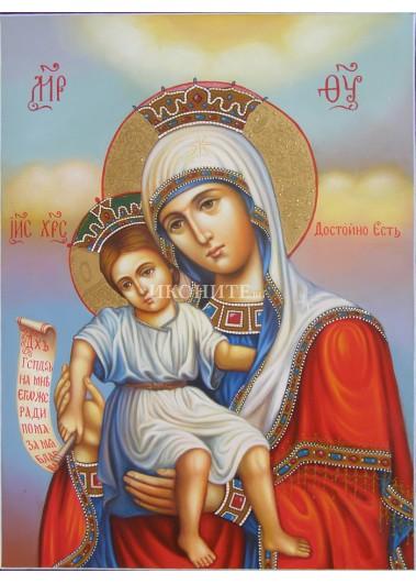 Чудотворна икона на Света Богородица - Достойно Ест - ръчна изработка - декупаж