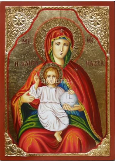 Рисувана икона на Света Богородица с Младенеца - висококачествена ръчна изработка