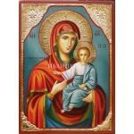 Ръчно рисувана икона със злато на Богородица с Младенеца - Одигитрия