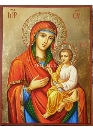 Икона репродукция на Света Богородица с Младенеца - златни ореоли - позлатен фон
