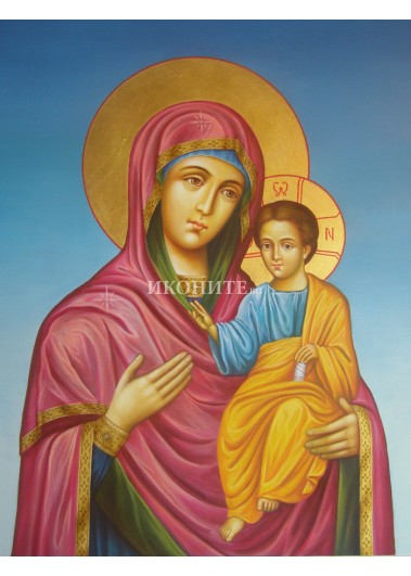 Рисувана икона на Света Богородица Пътеводителка - Одигитрия - 100% ръчна изработка