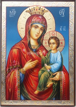Ръчно рисувана златна икона на Богородица Скоропослушница - Чуваща молитвите
