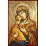 Златна рисувана икона на Св Богородица - Владимирска - Умиление