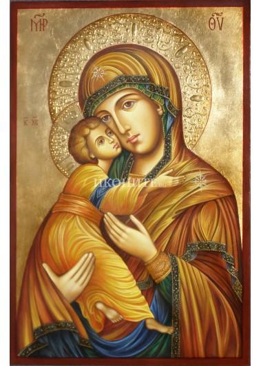 Малка дървена икона на Владимирската Света Богородица