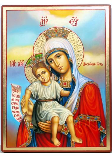 Чудотворна икона на Света Богородица - Достойно Ест - икона с декупаж
