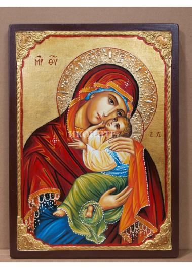 Чудотворна икона на Света Богородица с Младенеца - Умиление - Елеуса - рисувана ръчно