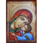 Чудотворна икона на Св. Богородица - Елеуса - Умиление - репродукция със състаряване