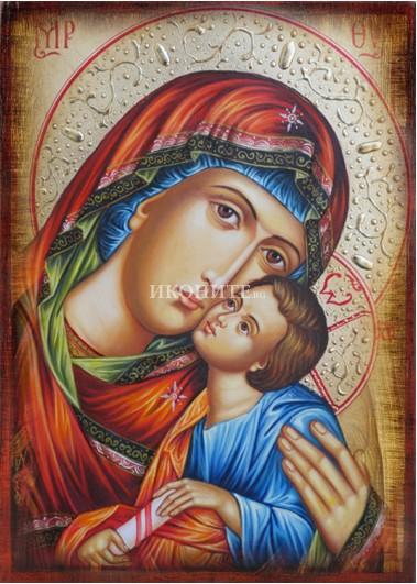 Икона на Света Богородица с Младенеца - Чудотворна - Умиление - репродукция