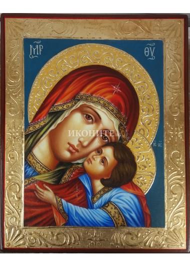 Рисувана златна икона на Св. Богородица с Исус Христос - Умиление