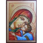 Дървена малка икона на Богородица с Исус Христос