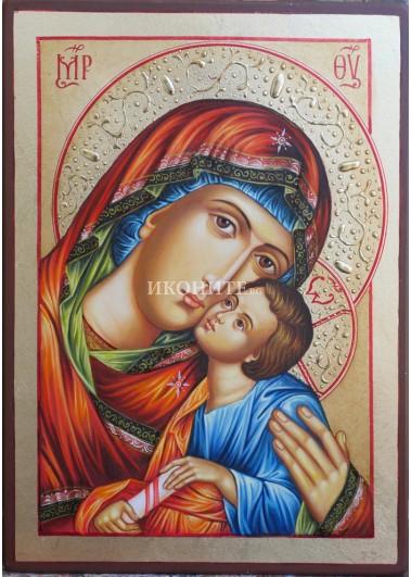 Икона на Света Богородица с Младенеца - Чудотворна - Умиление - Елеуса - декупаж