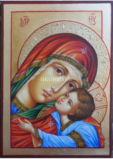 Златна икона на Богородица с Младенеца - Умиление