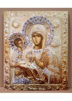 """Репродукция на чудотворната икона """"Богородица Троеручица"""" от Хилендарския манастир - декупаж"""