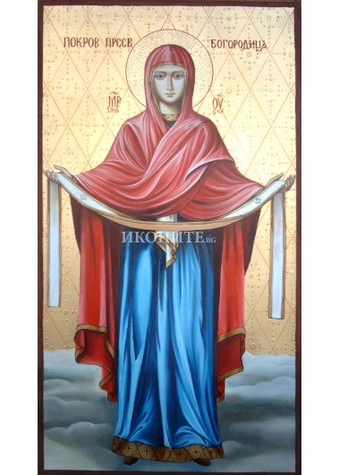Малка дървена икона - Покров на Пресвета Богородица