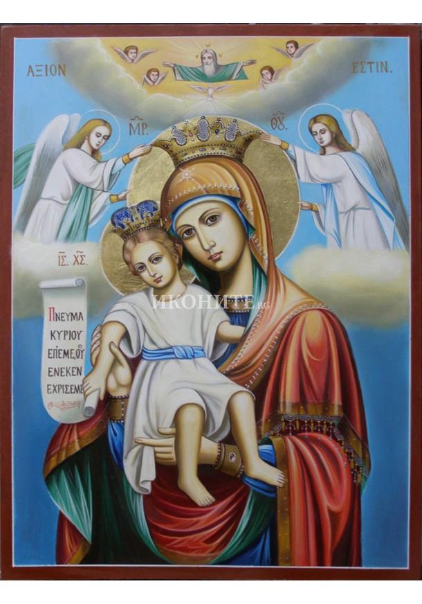 Репродукция на Св. Дева Мария - малка икона от дърво