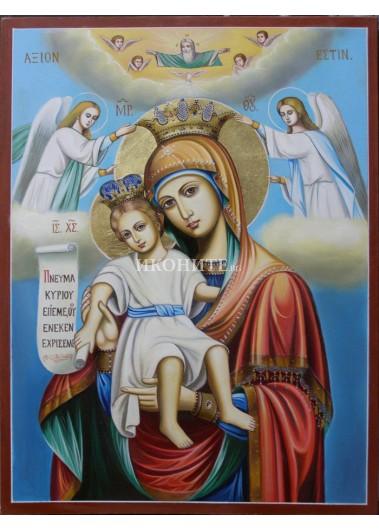 Чудотворната икона на Света Богородица - Достойно Есть - Милуваща - рисувана икона