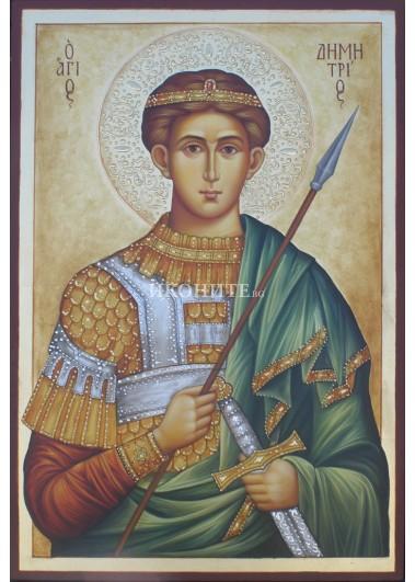 Рисувана икона на Свети Димитър Солунски