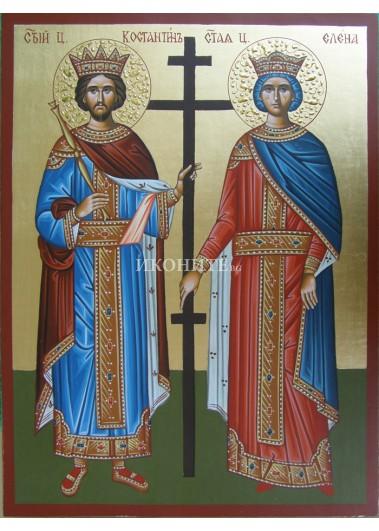 Икона на Свети Константин и Елена - декупаж