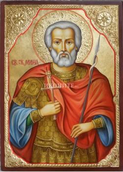 Дървена икона малка - Свети Мина