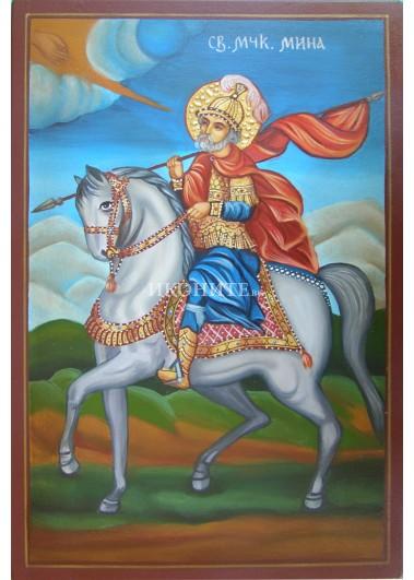 Малка дървена икона на Свети Мина на кон