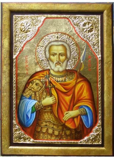 Икона на Свети Мина - декупаж с рамка
